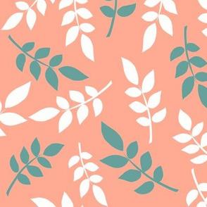 Leaf Play 2   Peach + Green