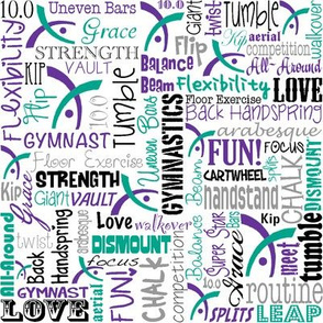 Gymnastics Words Fabric Purple Teal