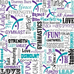Gymnastics Words Fabric Purple Turquoise