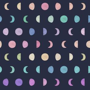 Rainbow, Watercolor Moon Phases