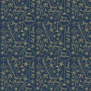 Gold Christmas Pattern on Blue