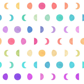 Moon Phases Watercolor Rainbow Pattern