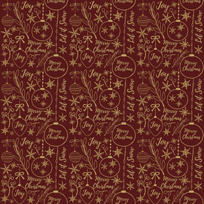 Gold Christmas Pattern on Red