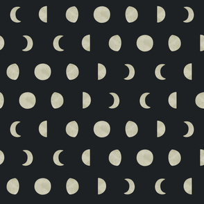 Moon Phases on Black Background