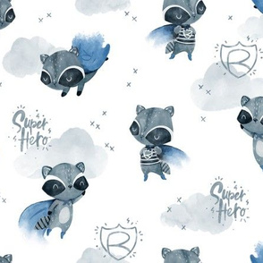 Raccoon Hero - blue cape white background