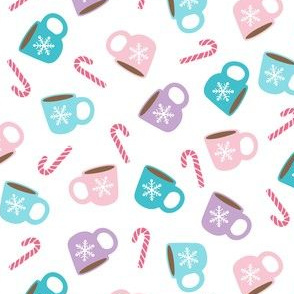 Winter Mugs & Candy Canes in Pink, Teal & Purple