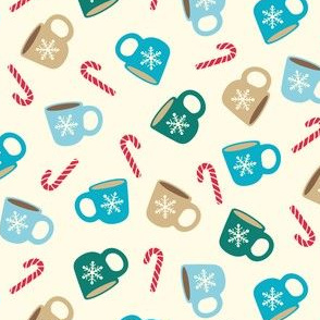 Winter Mugs & Candy Canes in Teal, Green & Brown