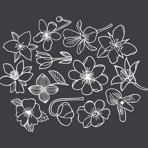 Canadian Flowers tea towel - charcoal black