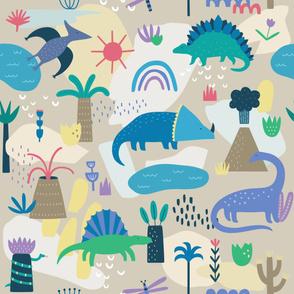 Dinosaur Pattern on Beige Background