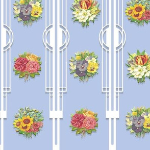 DECO FLORAL STRIPE (BLUEBELL)