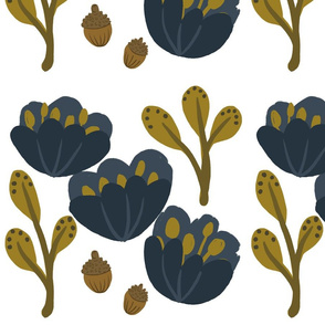 Blue and Gold Autumn Flowers