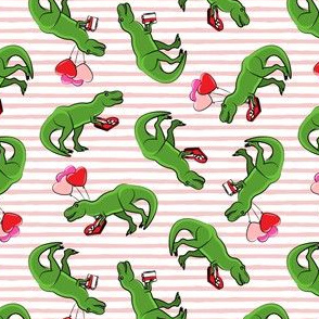 "(1.75"" scale) Valentine's Day Trex - toss on pink stripes C19BS"
