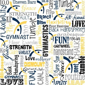 Gymnastics Words Fabric Navy Gold