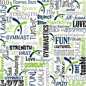Gymnastics Words Fabric Navy Lime