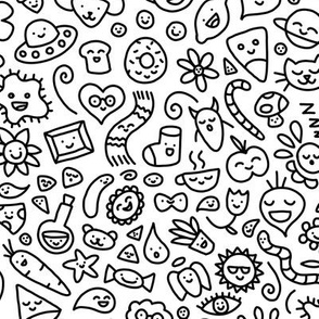 A World of Doodles Black on White