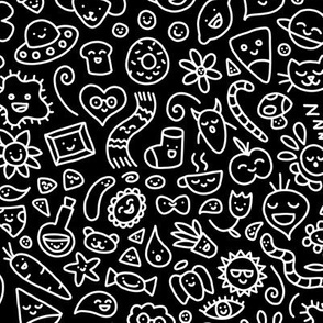 A World of Doodles White on Black