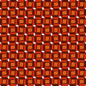 Greek Squares in Red and Orange