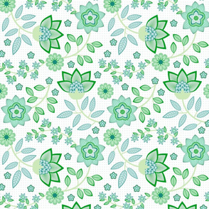 chintz in green