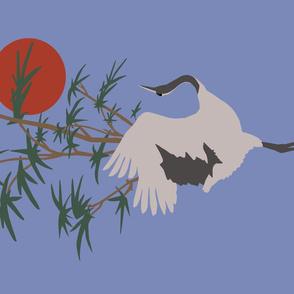 Prancing Crane on Blue  Tea Towel