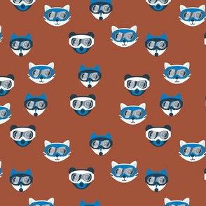 Seasonal ski trip kawaii animals winter wonderland skiing and snowboarding friends with goggles fox cat and bear christmas rust eclectic blue boys