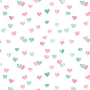 multi hearts - valentines -  pink teal - LAD19
