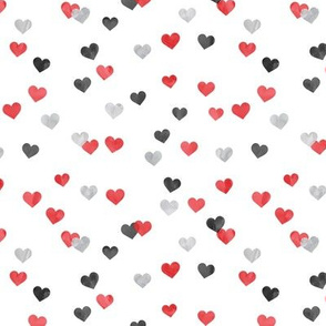 multi hearts - valentines - red grey black - LAD19