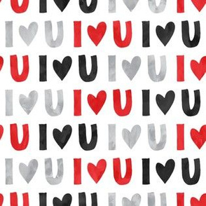 I love you - multi - valentines love - red black grey - LAD19
