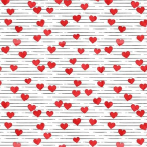 hearts - valentines - red on  black stripes- LAD19