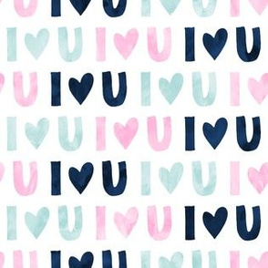 I love you - multi - valentines love - pink navy blue - LAD19
