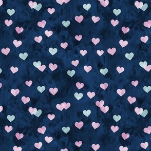 multi hearts - valentines - pink blue on navy  - LAD19