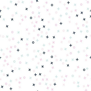 hugs and kisses - scatter - xo xo - valentines - pink navy blue - LAD19
