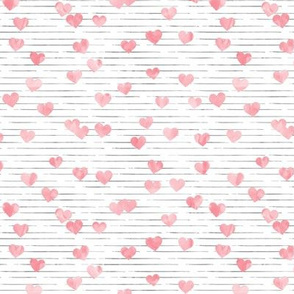 hearts on stripes - valentines - pink on blue  - LAD19