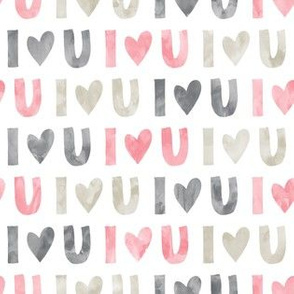 I love you - multi - valentines love -pink grey beige - LAD19