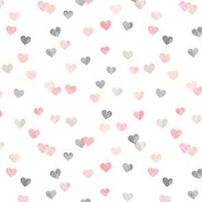 multi hearts - valentines - pink grey  - LAD19