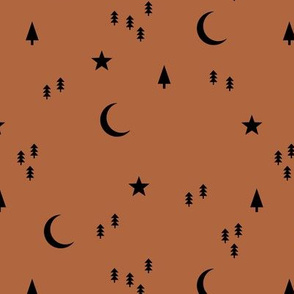 Midnight winter wonderland moon stars and christmas trees minimal geometric modern trend nursery design black rusty copper brown
