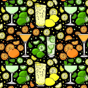 Citrus pop on black 12x12