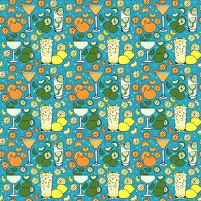 Citrus pop on blue 6x6