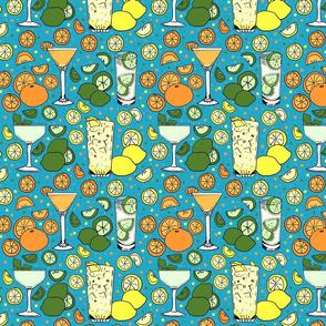 Citrus pop on blue 8x8
