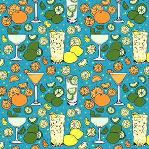 Citrus pop on blue 10x10