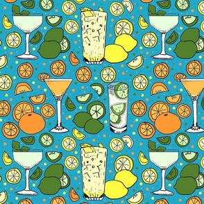 Citrus pop on blue 12x12