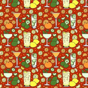 Citrus pop on red 8x8