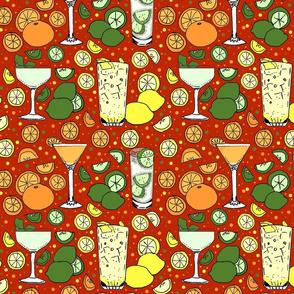 Citrus pop on red 10x10