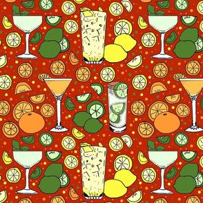 Citrus pop on red 12x12