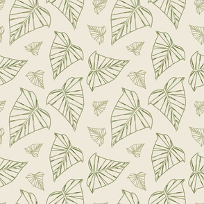 Ivy leaves of fall - ivory background