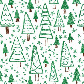 Fir trees pattern. Naive style