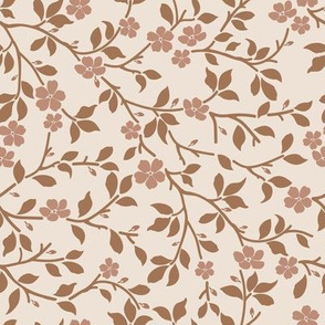 magnolia tree - brown on cream