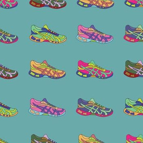 Running Shoe -Teal Background