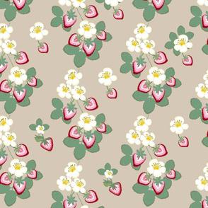 strawberry floral  chintz beige