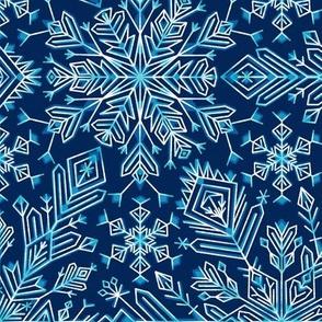Night snowflakes kaleidoscope