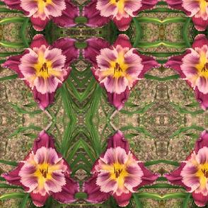 daylily pink & yellow fabric